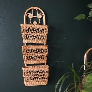 vtg 70s woven rattan wicker wall decor
